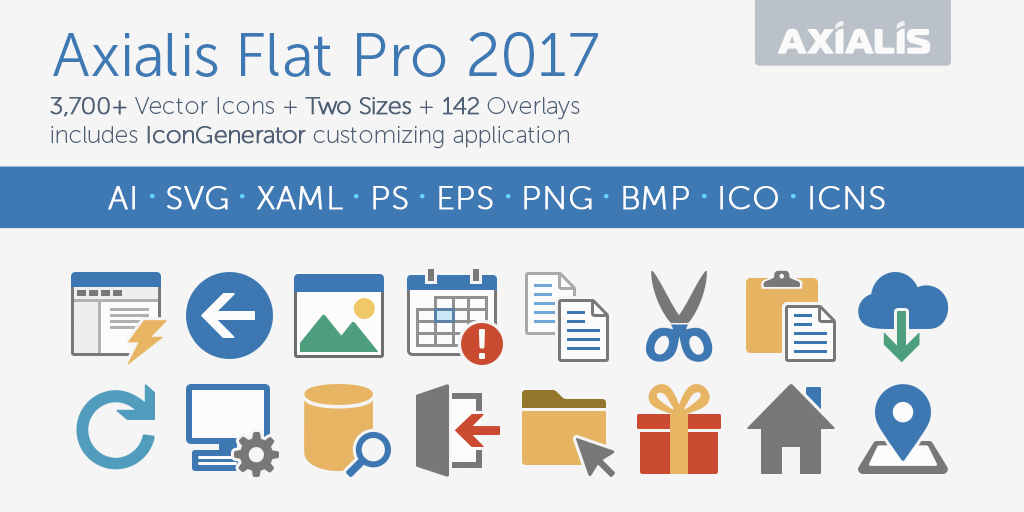 Axialis Flat Pro 2017 Icons - 3721 Vector icons for developers