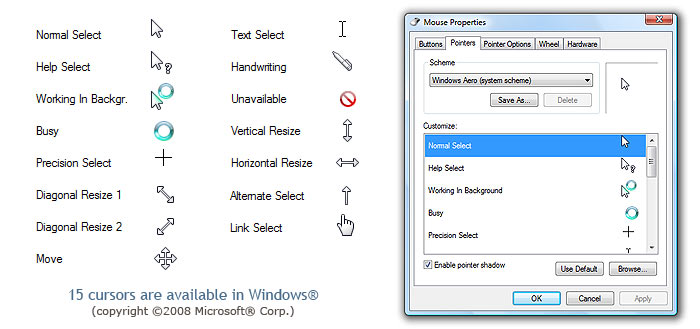 how to get different cursors on windows 10